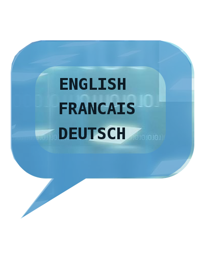 Sprechblase: ENGLISCH, FRANCAIS, DEUTSCH